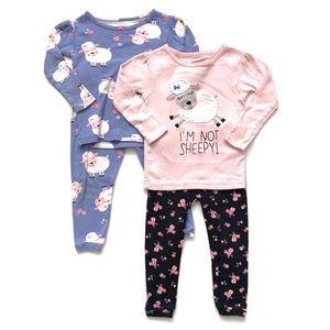 Baby Girl Pajama Set Bundle Lot 2 Interchangeable
